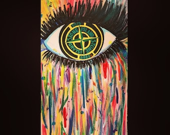 Stone Island Inspired Acrylic Painting on Canvas