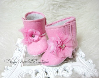 Pink Baby Girl Boots,Soft Sole Boots,Infant Boots