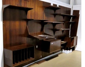 Poul Cadovius Mid Century Rosewood Wall Unit Made in Denmark Sold for Parts No Panels