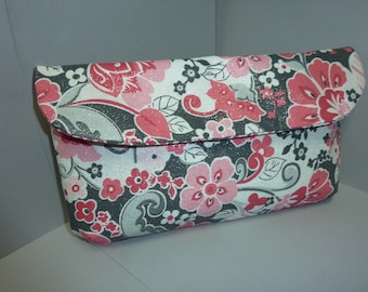 Pink & Silver Floral Clutch