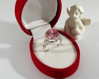 19.3 mm Ring Silver 925 large crystal pink SR648