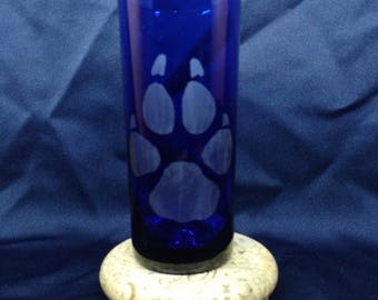 Dog Paw etched glass