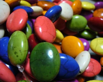 Magnesite  Beads Gemstone Mixed Colors Oval 20x15MM