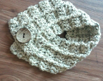 Ready to Ship! Handmade Crochet Wool Blend Cable Big Button Neck Wrap Scarf Oatmeal