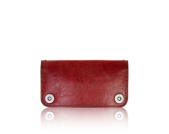 iPhone 6+, iPhone 7+ RETROMODERN aged leather wallet - - RED