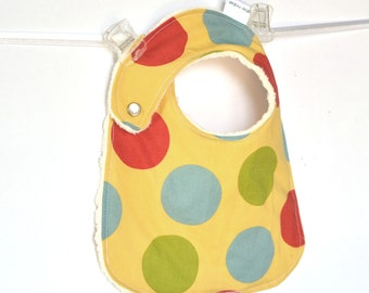 Balls in Daffodil Adjustable, Reversible Bib with Minky for Baby Boys