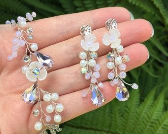 Blush Earrings Delicate Pink Bridal Earrings Pink Wedding Earrings and Bracelet Rose Crystal Bridal Earrings
