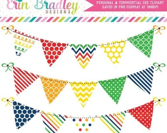 80% OFF SALE Clipart Bunting Banner Flag Graphics Set in Primary Colors Polka Dots Stripes Chevron Patterns Red Orange Yellow Green Blue