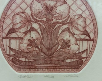 J. E. Fischer Limited Edition Signed Numbered 120/125 Etching Saffron Flower COA