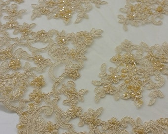 Beige lace fabric, Beaded French Lace fabric, Alencon Lace, Bridal lace, Wedding Lace, Brown Pearl lace, Sequin Lac, Beaded lace KSBY61575CB