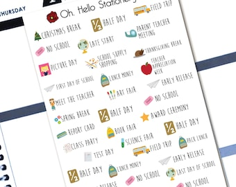 Planner Stickers Back to School Font Stickers - for Erin Condren Life Planners