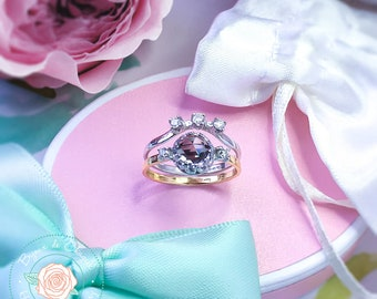 Alexandrite & Diamond ring, Alexandrite Moissanite Contour ring, Alexandrite Wedding ring set,  9ct, 14ct, 18ct solid Gold ring.