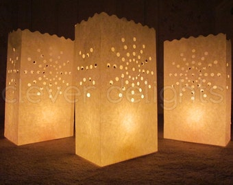 20 Luminary Bags - White - Sunburst Design - Wedding, Reception, Party, and Event Decor - Flame Resistant Paper - Luminaria - Twenty Bags