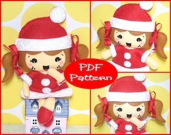 Felt Doll Pattern, Christmas Girl, Christmas Decoration, PDF Pattern, Sewing Pattern, Doll Tutorial, Felt Plush, Christmas Doll, Felt Toy,