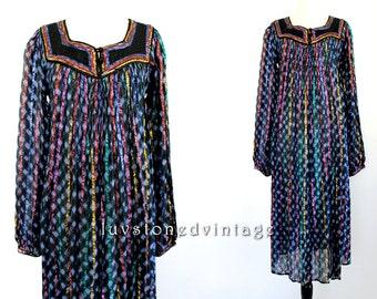 70s Vintage Indian Tie Dye Ethnic Boho Hippie Cotton Gauze Metallic Lurex India Gypsy Festival Maxi Dress . SML . 837.6.6.14