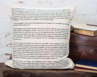 Pride And Prejudice Cushion Cover - Book Page Print Cushion - Mr Darcy Proposal - Jane Austen Quote - Homeware Gift - Home Accessories