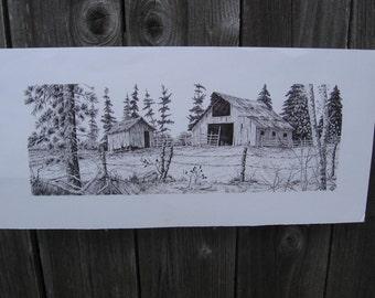 "Ink Drawing 'DAKOTA' Black & White Original signed Illustration of Farm Buildings 6""x17"""