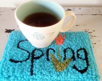 Spring / spring decor / mug rug / tulip / coffee lover / gift for her / gift / tea mat / tea / mug / snack mat / seasonal decor