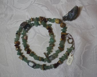 Aventurine and Jasper Necklace with Moss Agate Pendant