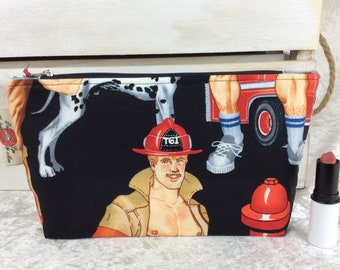 Handmade Zipper Case Zip Pouch fabric bag pencil case purse Alexander Henry Ready For Action Firefighters Firemen