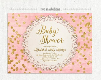 pink gold glitter baby shower invitation, lace doily rustic girl baby shower invite, coral gold confetti rustic woodgrain 139