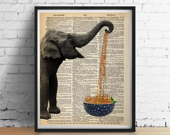 ELEPHANT Eats Noodles Spaghetti Bowl Art Print Poster Animal Illustration Kitchen Antique Dictionary Book Page