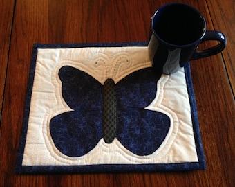 Blue butterfly mug rug set with 12 oz. mug