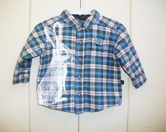 Easter Bunny baby boy shirt - eco screenprint in white on upcycled blue green white and red plaid cotton long sleeve shirt - size 9 months