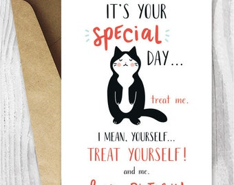 Funny Cat Birthday Cards Instant Download, Treat Yourself Funny Printable Birthday Cards, Tuxedo Cat Card Digital Download, Kawaii Cat Card