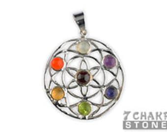 7 Chakra Flower of Life Metal Pendant