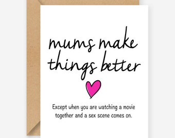 Funny Mothers Day card, mums make things better, funny blank cards, recycled cards