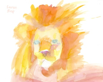 Watercolor Lion Print