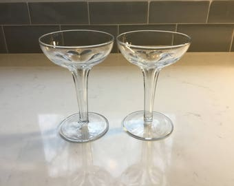 Antique Hollow Stem Champagne Coupes - set of 2