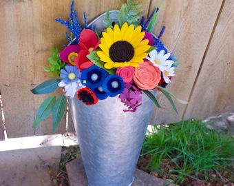 Galvanized Hanging Bucket Planter and Summer Floral Bouquet // Farmhouse Decor / Country Decor / Housewarming Gift / Wedding Gift