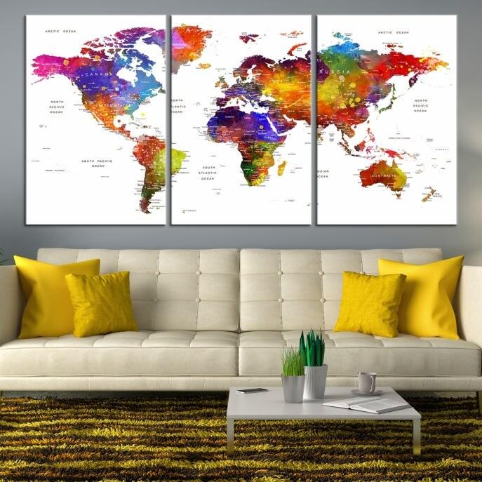 Large wall art world map canvas print watercolor world map push pin large wall art world map canvas print watercolor world map push pin canvas print large world map wall art gumiabroncs Gallery
