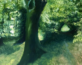 The Woods at Priory Park, small, original, oil painting