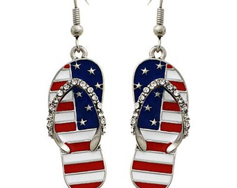 Flip Flop USA American Flag Dangle Earrings