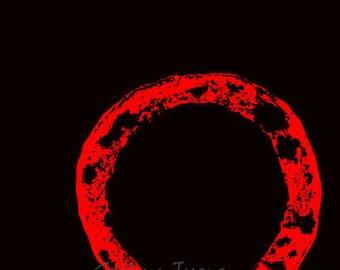 enso, circle,  red, black, art giclee print,   4 x 6