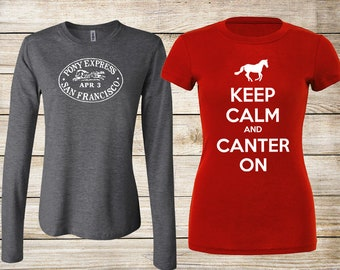 SALE! Equestrian T-Shirt Bundle: Keep Calm and Canter On Red Fitted T-Shirt & Pony Express Vintage Stamp Heather Gray Long Sleeve Size Small