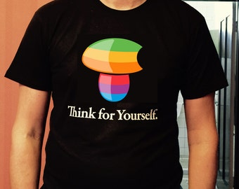 "Nature's Gnosis  Black High Quality Screen Printed Tee ""Think for Yourself"" Design"