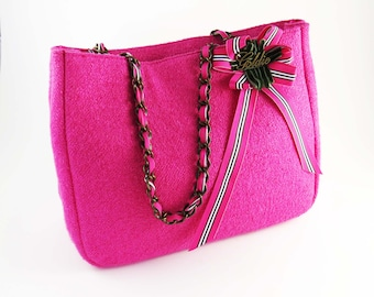Re-Purposed HOT PINK Wool Tweed Tote - Purse -Bag by GOLDIE / Silk Lined w Zippered Pocket, Ribbon and Metal Chain Straps: Spring Fashion