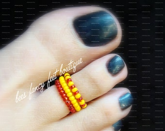 Stacking Toe Ring, Stacking Rings, Red Beads, Yellow Beads, Retro Toe Ring, Retro Ring, Toe Ring, Ring, Retro Pattern, Stretch Bead Toe Ring