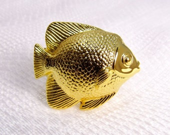 Golden Goldfish: Novelty Door/Drawer Knob Hardware - New / Unused High Quality Drawer Pull
