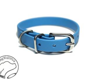 "Caribbean Blue Little Dog Collar - 1/2"" (12mm) Thin Beta Biothane Dog Collars - Waterproof Small Dog Collar"