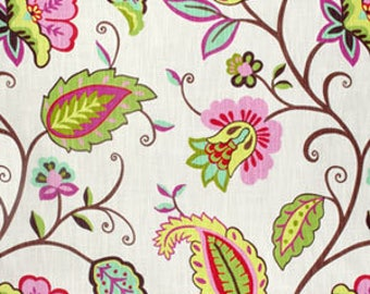 P Kaufmann Petal Pusher Rose Fabric - pink, green, ivory, flowers, vines, leaves