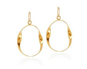 Martha Earrings- Large Hoop Earrings - Gold Hoops - Twisted Hoops - Handmade Gold Hoops
