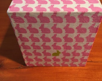Tissue Box Cover bunnies, pink, Easter, baby