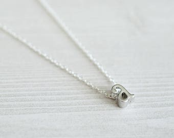 Silver A Initial Necklace | Dainty Letter Necklace | Layering Necklace