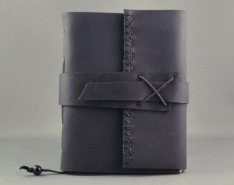 Rustic Black Leather Journal, Medium Size