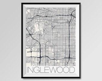 INGLEWOOD California Map, Inglewood City Map Print, Inglewood Map Poster, Inglewood Map Art, Inglewood gift, Custom maps, California map